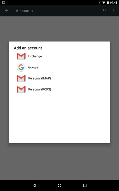 Android Email Options