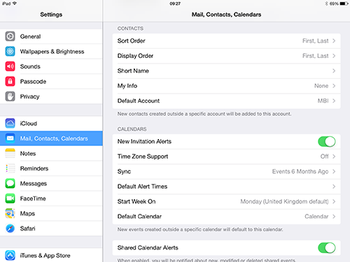 IOS Calendar and Contacts Default
