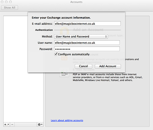 Outlook for Mac Account Details
